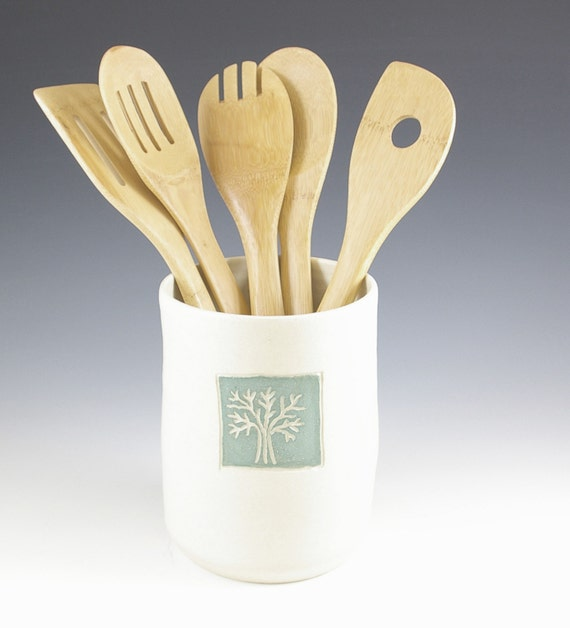 Utensil Holder Ceramic Kitchen Spoon Holder By Fineartstoneware