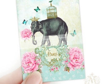Elephant, Aceo, Artist trading card, print, Giclee, Illustration, Paris, pink flowers, miniature art, bird cage, gold crown, collectibles