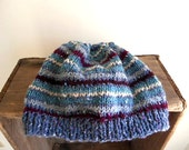 Wool tweed striped hat, beanie Hand Knit - dusty blue, teal, wine - women men unisex