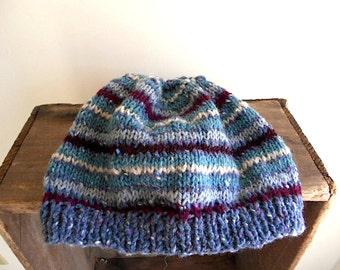Wool tweed striped hat, beanie Hand Knit - dusty blue, teal, wine - women men unisex