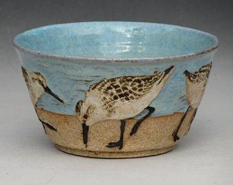 BIRDS & BEACH BOWL-- Medium 14 ounce size with 5 Sanderlings--3 of 3