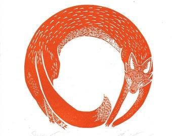 Sleepy Fox Lino Print, Lino Cut, Printmaking, By Bridget Farmer