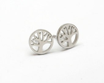 Round Tree Stainless Steel Stud  Earring Post Finding  (EE001)