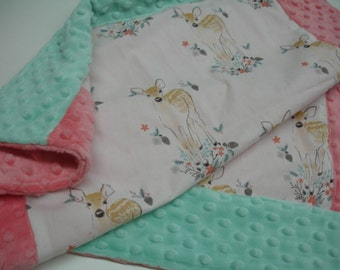 Fawn Baby Security Blanket Lovey 22 x 24 READY TO SHIP