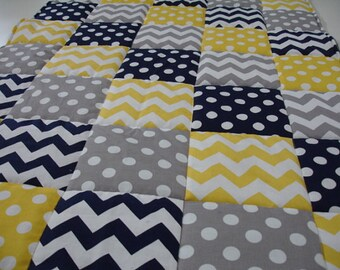 Chevrons and Dots in Navy Gray and Yellow Minky Comforter Blanket MADE TO ORDER No Batting