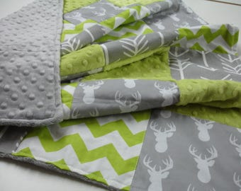 Deer Head and Arrows Gray and Lime Minky Blanket You Choose Size and Minky Color MADE TO ORDER No Batting