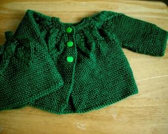 Baby sweater set, Cardigan, new born, baby hat, infant set, sweater and hat set, hand knit baby set