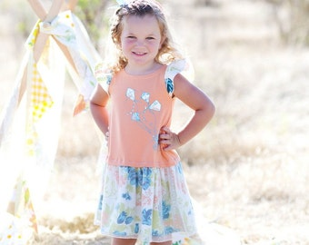 SAMPLE SALE -  Robin Dress in Barefoot in the Park - Size 12 months ... Jersey body with charming screenprint and dotty overlay skirt