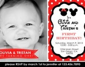 Minnie and Mickey Mouse Boy/Girl Twin Red Printable Party Photo Invitation / Birthday Party / Baby Shower, etc.