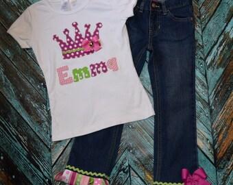 PRINCESS THEMED RIBbON FRINGE denim skirt/ jeans/ shorts/ capris sizes 0-3-6-9-12-18 -24 mth -2 -3 -4 -5-6-7-8 pink fuchsia lime green