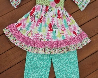 """Girls """"WHIMSICAL TREES"""" w/ aqua collection """"AbBY"""" tunic and """"BELLa"""" pants sizes 12-18-24 mth 2-3-4-5-6-7-8 Christmas Trees Winter"""