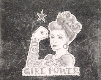 12x12, Mixed Media, Assemblage, Girl Power
