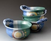 Soup Bowl with Handle, Ceramic Bowls, Handmade Soup Bowl, Blue Green Colors
