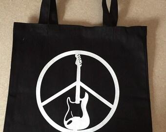 Cool Rock n Roll Guitar Peace tote bag