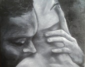 "Oil Painting Couple Intimate Grey Scale Square Painting 12"" x 12"" READY to SHIP"