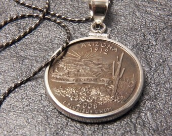 State Coin Necklace Arizona year 2008 with Sterling Silver Coin Bezel to display the art of your State quarter