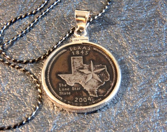State Coin Necklace Texas with Sterling Silver Coin Bezel to display the art of your State quarter