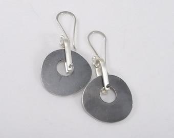 Oxidized Sterling Stirrup Earrings - E2331