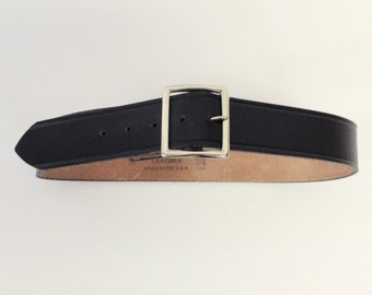 Raw Vintage Black Leather Postal Garrison Belt Sz 32