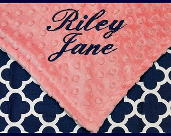 Personalized Baby Girl Blanket-Minky Monogrammed Quatrefoil Blanket