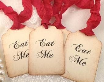 Eat Me Tags Red Ribbon Alice In Wonderland Party Favor Tags