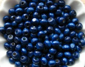 Navy Blue Wooden Beads - Over 200 - 6mm Glossy Dark Blue Wood Beads (WBD0087)