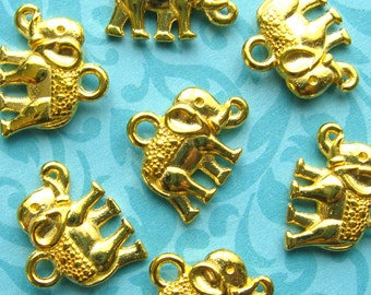 Gold Elephant Charms / Pendants - Set of 10 - Bright Golden Finish Animal Charms (BC0034)