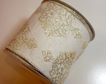 Metallic Gold Ribbon, Antique White Brocade Wired Fabric Ribbon 4 inches wide x 10 yards, Full Bolt, Offray Victoria Ribbon