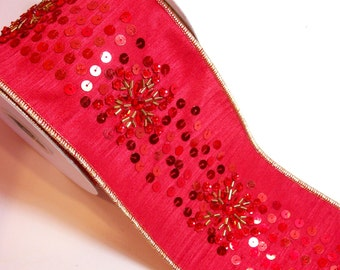 Christmas Ribbon, Offray Red and Sequin Wired Fabric Ribbon 4 inches wide x 5 yards, Full Bolt of Zeneca Ribbon