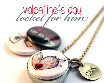 Valentine's Day Locket for Him, Guy Gift, Gift for Boyfriend, Personalized Boyfriend Gift, Magnetic, 3 in 1, Heart Locket, Spider Web