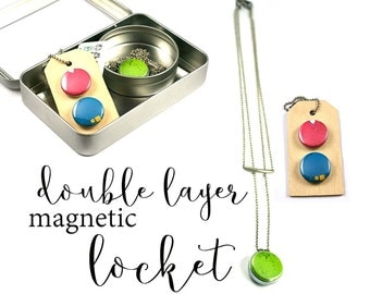 Layered Necklace Set, Layered and Long, Magnetic, Multi Strand, NEON Necklace, Colorful Locket, Pantone Necklace, Recycled Steel, Polarity