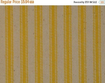 40% OFF SALE Ticking Material   Ticking Fabric   Stripe Material   Pillow Ticking   Vintage Look Ticking   Sun Yellow Ticking Fabric    22 x