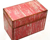 Wood Recipe Box Red Barn Wood Kitchen Storage Fits 4x6 Recipe Cards
