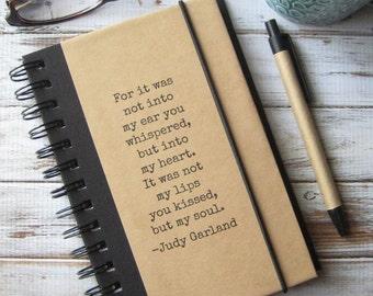 Boyfriend Gift, Husband Gift, Journal, Notebook, Engagement Gift, Judy Garland