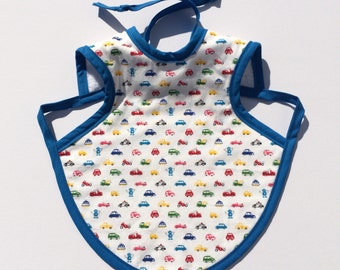 Beautiful baby bib for 6 to 18 months - cars and robots