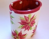 whimsical oval Utensil Holder or Vase pottery Poinsettia holiday kitchen  :) home decor ceramic hand painted
