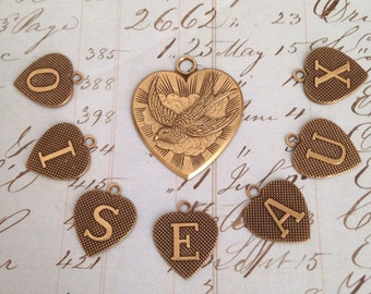 0iseaux - Birds in french Antiqued Brass Charms Exclusive