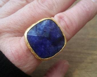 Sapphire Blue Brass Ring