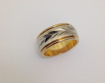1970's 14 KT White and Yellow Gold Wedding Band for Her Size 4.75 - 585 Gold