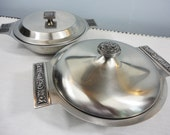Stainless Steel Serving Bowls with Lids - Set of 2 - Modern Design - Made in Japan