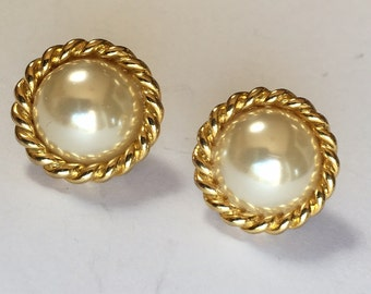 Large Vintage White Faux Pearl Clip On Earrings in Fancy Gold Tone Setting