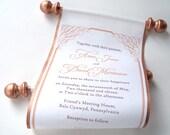 Calligraphy wedding invitation, bronze fabric scroll invitation, copper wedding invitations, elegant wedding calligraphy invites {10}