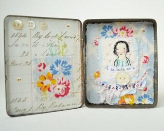 Vtg tin ARTWORK ORIGINAL : Mixed media - Vintage tin - cute as a button