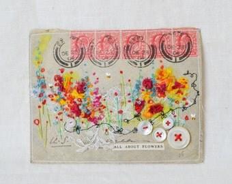 ARTWORK ORIGINAL : envelope artwork - embroidered garden
