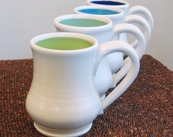 Coffee Mugs - Large Pottery Mugs - Wedding Gift - Ceramic Stoneware Set of Four Cups in Cool Tones