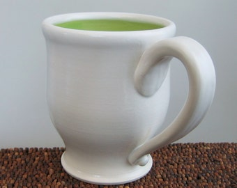 Ceramic Coffee Mug - Curvy Lime Green Stoneware Pottery Mug - 14 oz Handmade Mug or Beer Stein