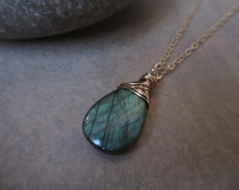 Labradorite Pendant Necklace, Blue Green, Gold, Aqua, Wire Wrapped, Large, Irisjewelrydesign