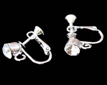 Clip-On Converter with Clear Swarovski Crystal on Silver or Gold Platings - Comfortable Adjustable Screw Back - Other Colors Also Available
