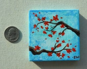 Tiny art, Miniature, Red Cherry Blossoms with turquoise sky, Miniature Original Oil Painting, Dollhouse Art, American Girl Doll, 3""