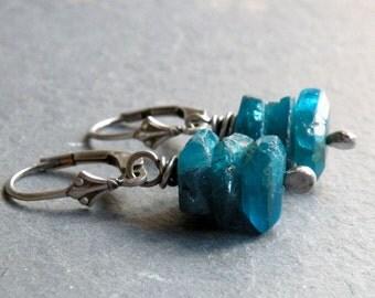 Raw Apatite Gemstone Earrings, Teal Blue Apatite Earrings, Stacked Raw Apatite Earrings, Teal Blue Gemstone Earrings, Teal Dangles, #4663